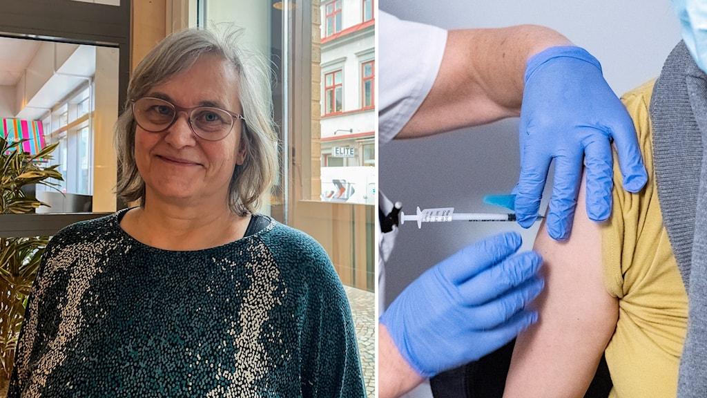 Lena Andersson Nazzal och en bild på en kvinna som vaccineras.