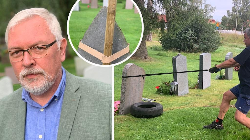 gravsten som testas att vältas och en man i kostym