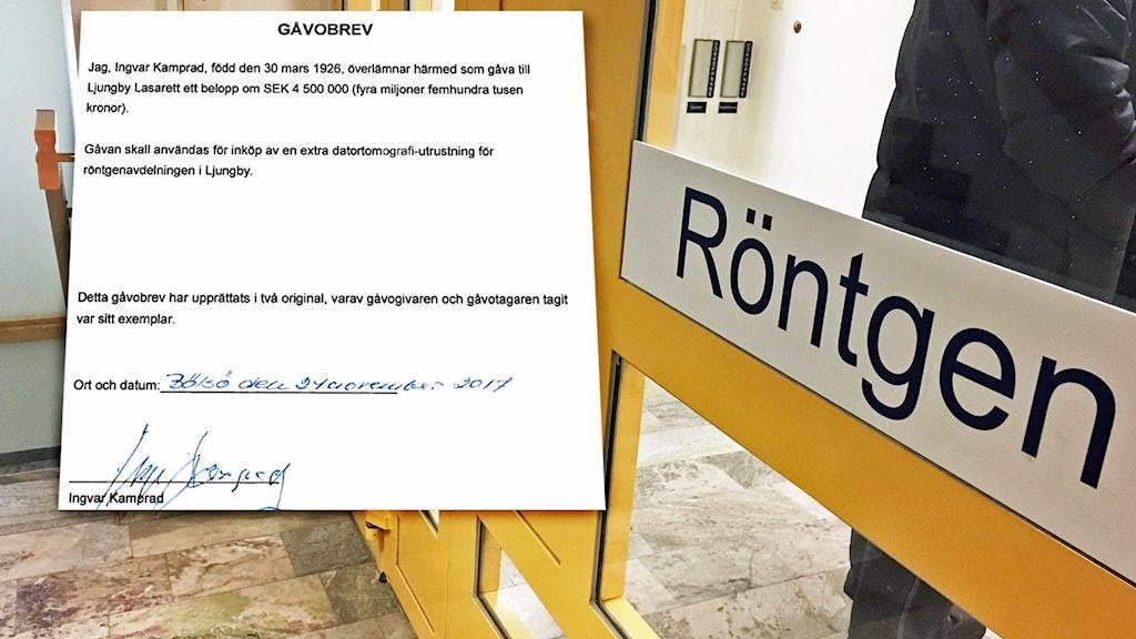 Ett utdrag från Ingvar kamprads arv ligger ovanpå en bild på röntgenmottagningen i Ljungby.