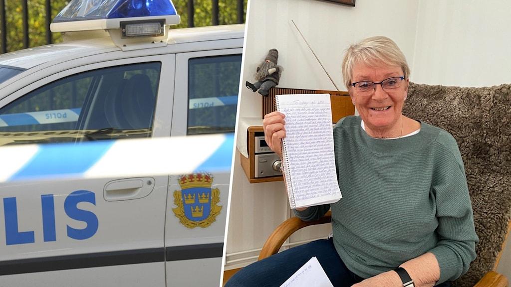 Genrebild och Solveig Johansson i Tingsryd som håller upp sin dagbok om rånet.