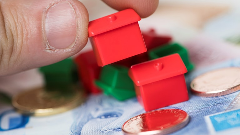 Mynt och små plasthus.