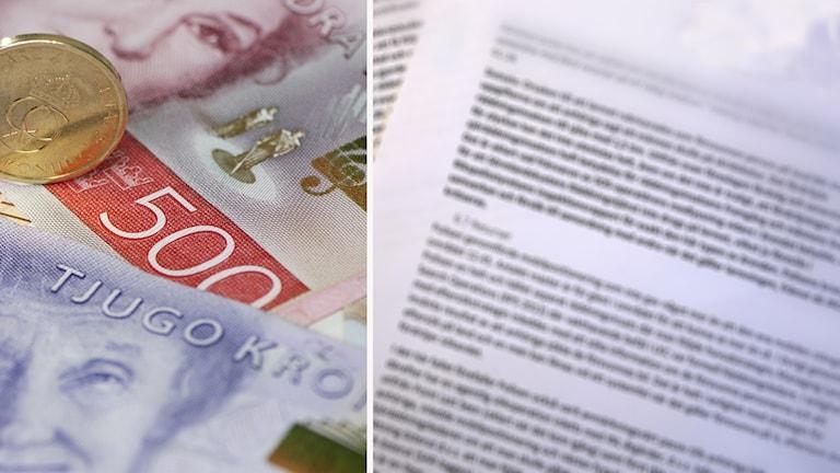 Fotomontage av pengar och en suddig rapport.