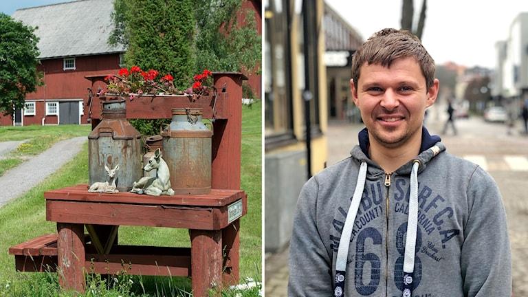 Till vänster en arkivbild på en bondgård, till höger en porträttbild på Pawel Grimvi
