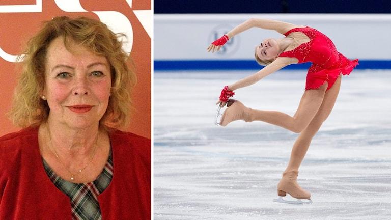 Till vänster Eva Johansson (C), till höger en konståkare
