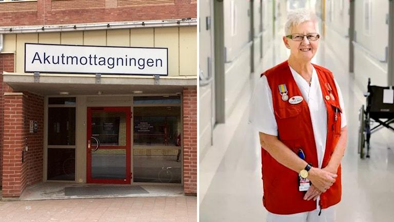 Akutmottagningens entré och en sjukhusvärd i röd väst