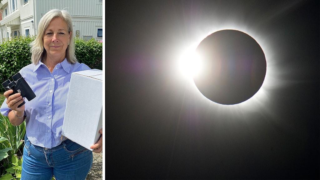 En kvinna med en kikare och en solförmörkelse