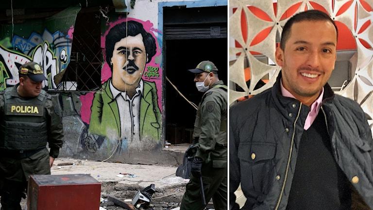 Till vänster en graffitimålning i Bogota, till vänster Wille Lopez