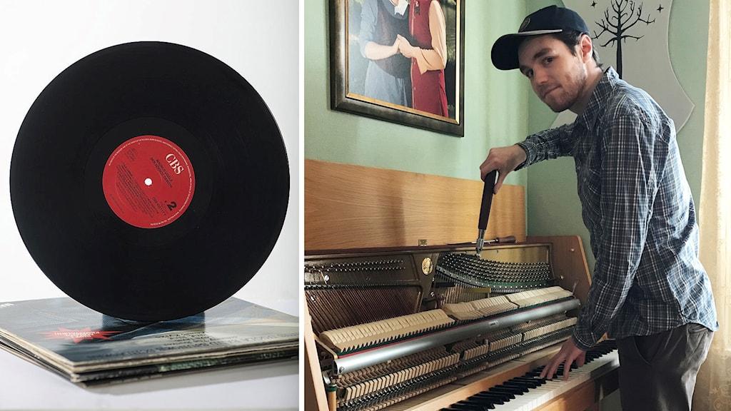 Jonathan Barksell stämmer ett piano till höger, och till vänster är en vinylskiva.