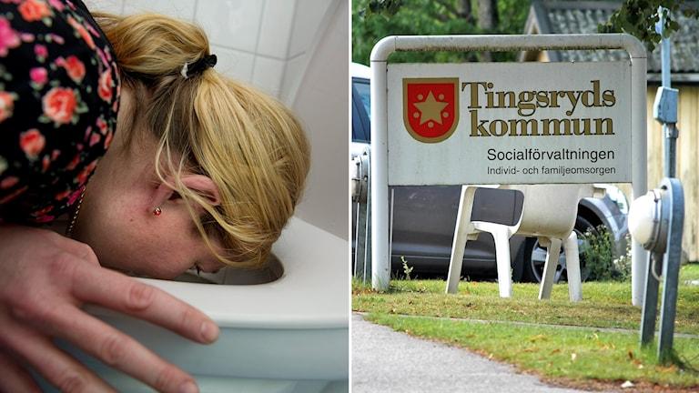 Till vänster en kvinna som kräks i en toalettstol, till höger Tingsryds kommuns logotyp.