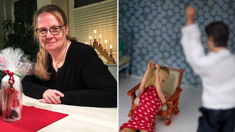 Helena Fyhr Abrahamsson till vänster, två dockor som gestaltar våld mot kvinnor till höger