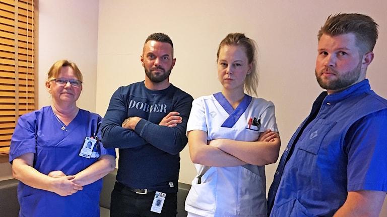 Gunnel Claesson, Kim Ahlqvist, Sanne Tegvall och Viktor Holm på medicinavdelning 5 på Växjö centrallasarett.