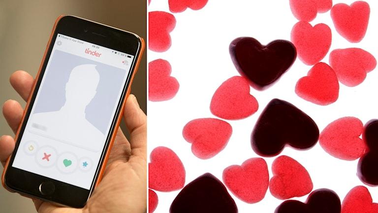 Till vänster en smartphone med en dejtingapp, till höger geléhjärtan.