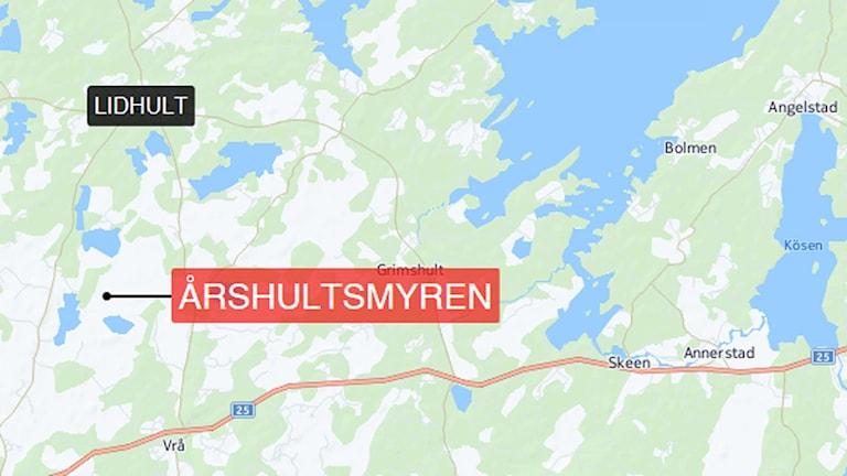En karta över Årshultsmyren