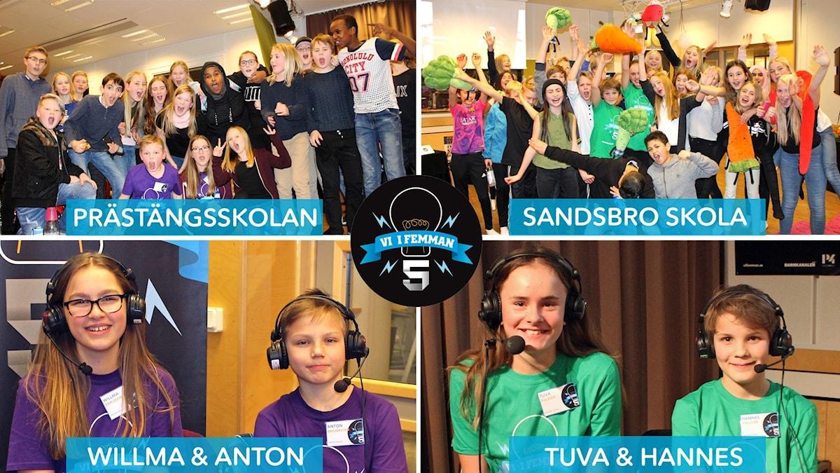 Collage på Vi i femman-klasserna och de tävlande.