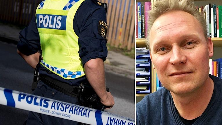 Till vänster en polis i uniform, till höger Ola Kronkvist som är chef för polisutbildningen i Växjö.