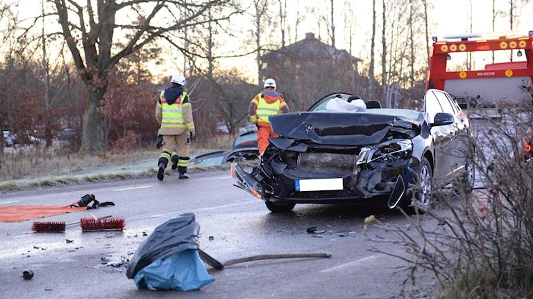 Strax efter klockan 07:30 på måndagsmorgonen så inträffade en trafikolycka på Teleborg i Växjö på Teleborgsvägen nära bensinmacken vid Teleborgs centrum.