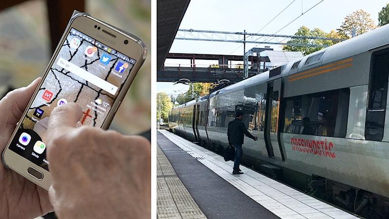 Mobiltelefon och ett Öresundståg.