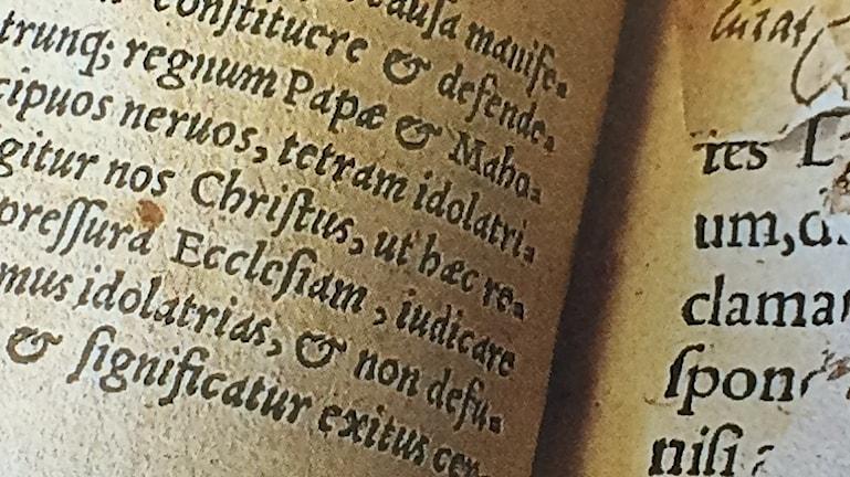 Bild på boken In Evangelia från 1555.