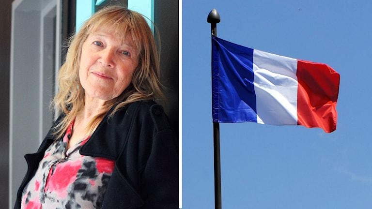Porträttbild av Claudine Bordereaux i ellt montage med franska flaggan.