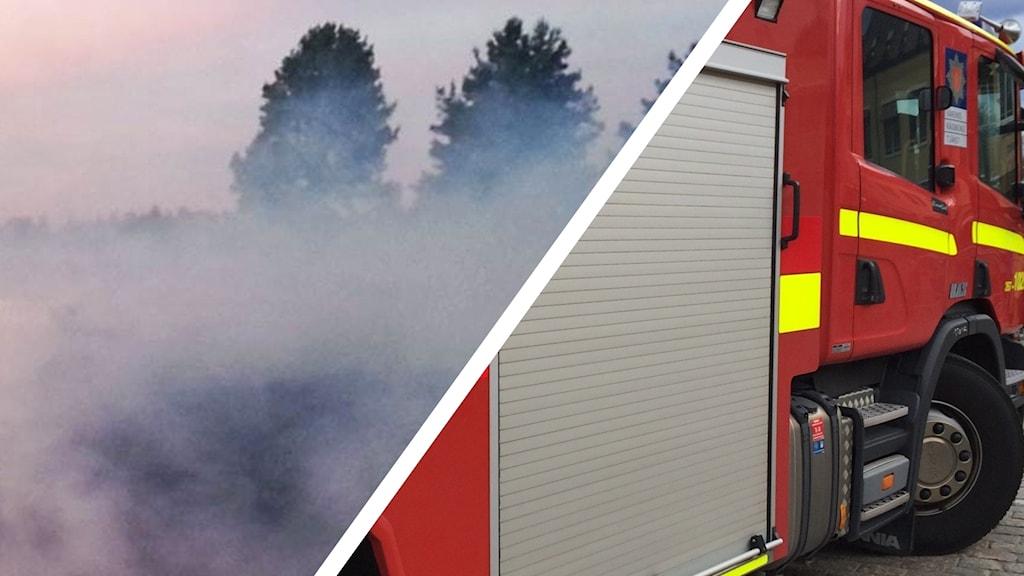 Rökmoln och brandbil.