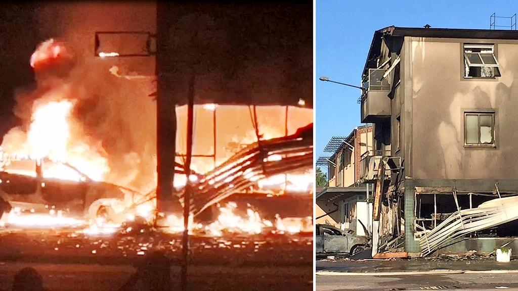 Bilder från branden i Strömsnäsbruk