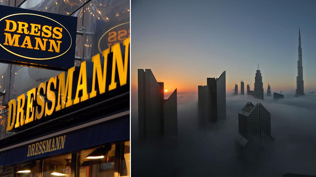 Dressmanns logotyp och Dubais skyskrapor ovan molnen i ett bildmontage