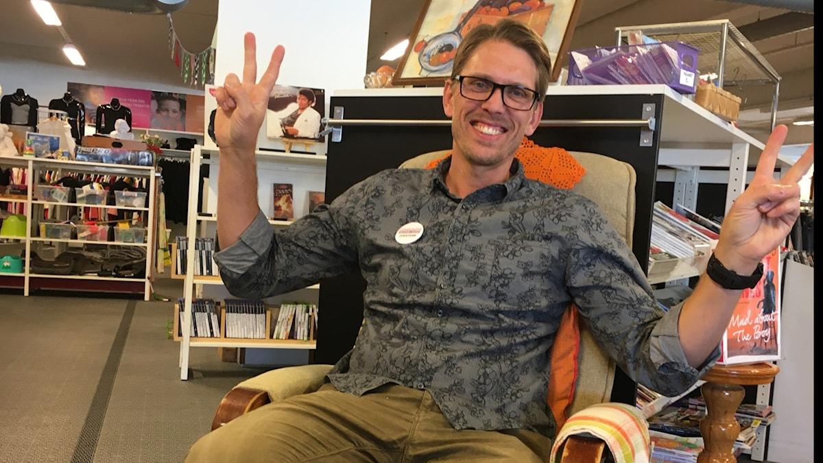 Jonathan Egerbo på Erikshjälpen i Växjö.