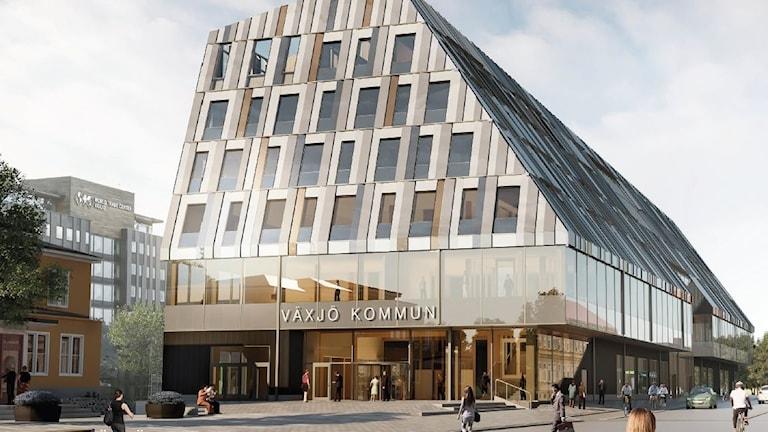 En ritning av Växjös nya stationshus