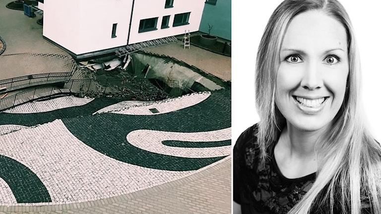 Till vänster en bild över takraset, till höger reporter Maria Helttunen