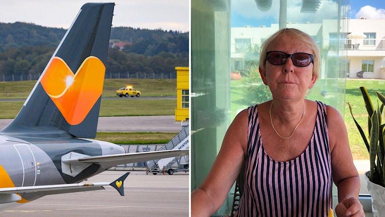 Bildmontage: Bild 1: flygplansvinge Ving. Bild 2: Sara Cederberg sitter i solglasögon vid lunchbordet och ser lite irriterad ut.