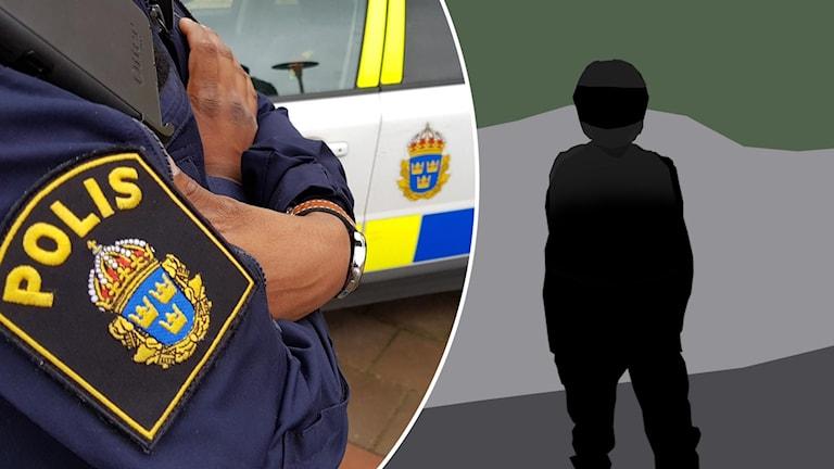 Polisman och illustration: Man med mc-hjälm.