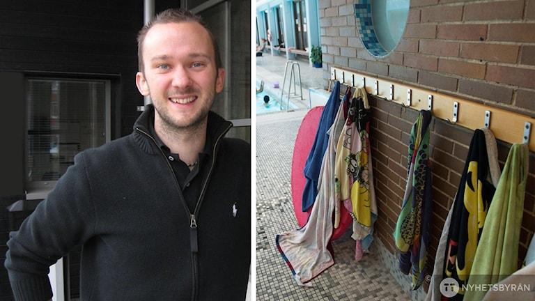 Bildmontage av Martin Sallergård, fritidschef i Alvesta kommun och handdukar som hänger på en vägg i en simhall