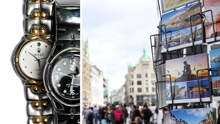 Bilden är ett montage av piratkopierade klockor och en bild på ströget.
