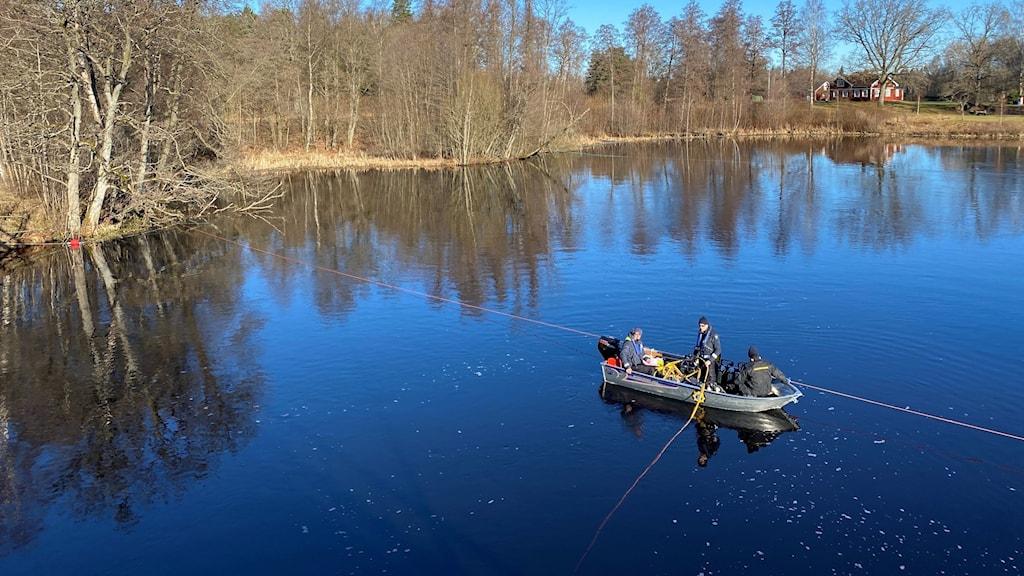 Nya dykningar i ån Lagan i Ljungby.