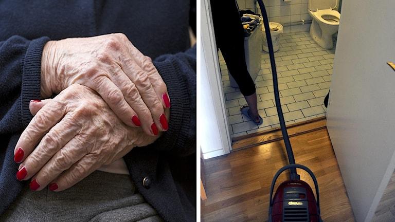 Äldre dam och städning på toalett.