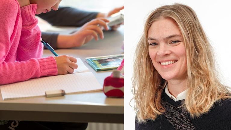En flicka i ett klassrum och Emma Lindeblad.