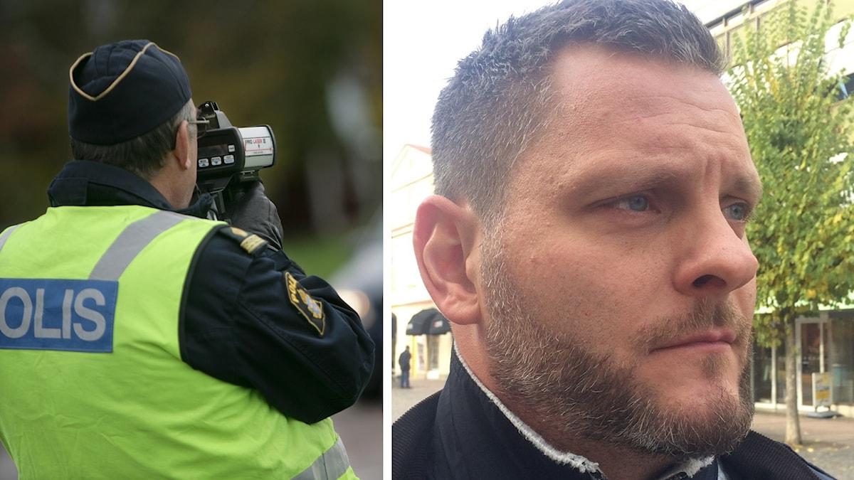 Till vänster i bild en trafikpolis, till höger i bild Tomas Stjernfeldt på polisförbundet