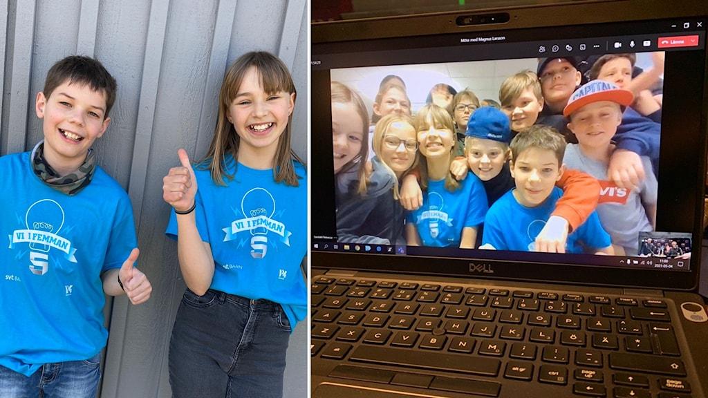 barn som är med i Vi i femman firar framför datorn.