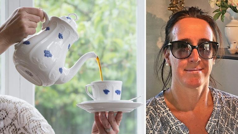 Till vänster en porslinkanna. Till höger Helena Löwenstierna med solglasögon. Bakom henne står en porslinservis på ett bord.