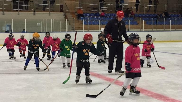 flickor med hockeyklubbor på isen