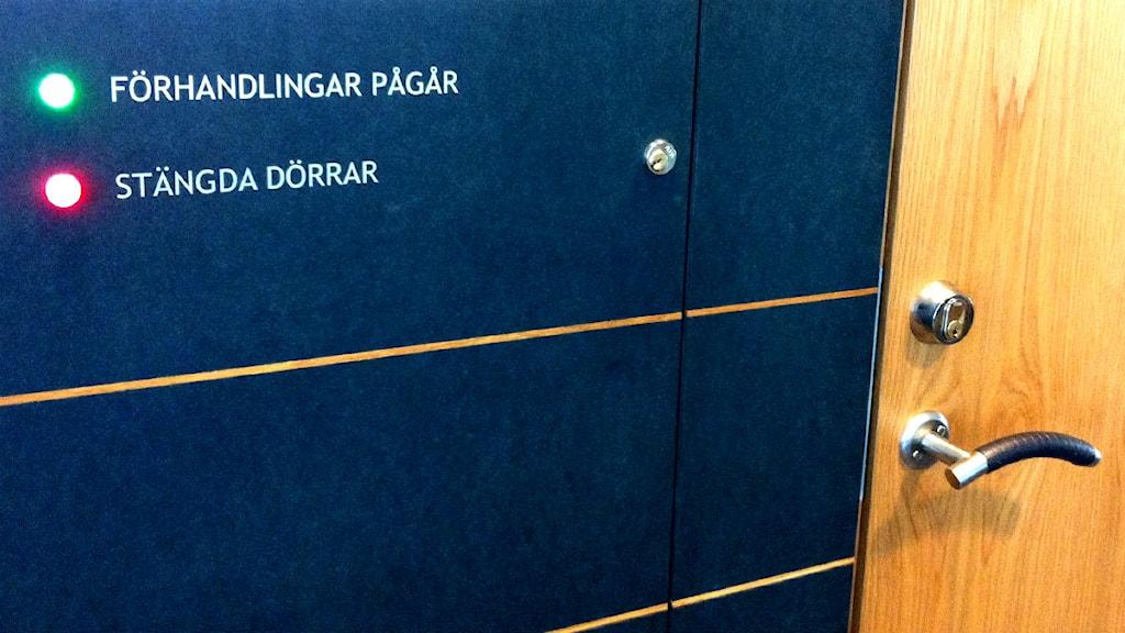 Rättegången hålls bakom stängda dörrar. Foto: Michelle Hallberg/Sveriges Radio