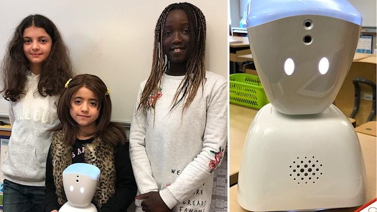 Harja, Marwa (som har paddan hemma och följer klassen via roboten) och Nina. Alla går på Hackebackeskolan