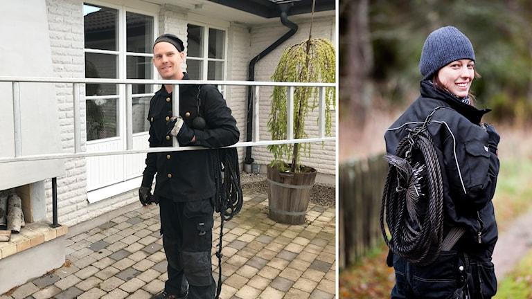 Bildmontage: Bild 1: Robin Kaisson i sin sotardräkt med en stege under armen framför ett hus med en utekamin. Robin ler mot kameran. Bild 2: En kvinnlig sotare står i sotardräkt med huvudet vänt till kameran och ler.