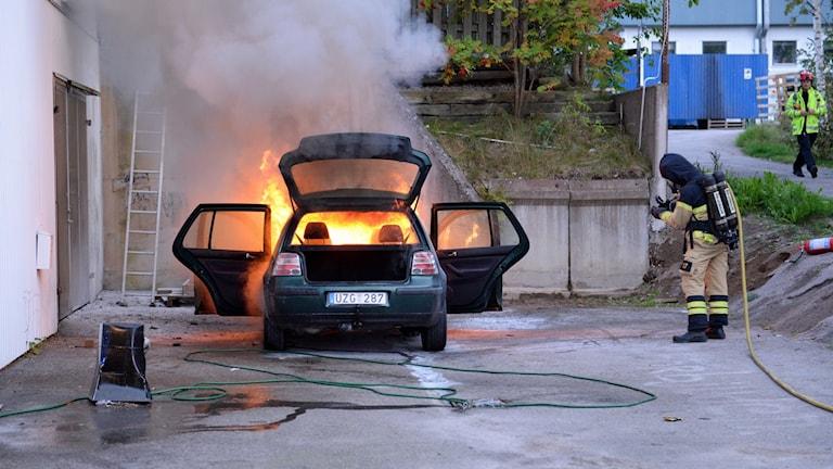 Bilbrand i Växjö.