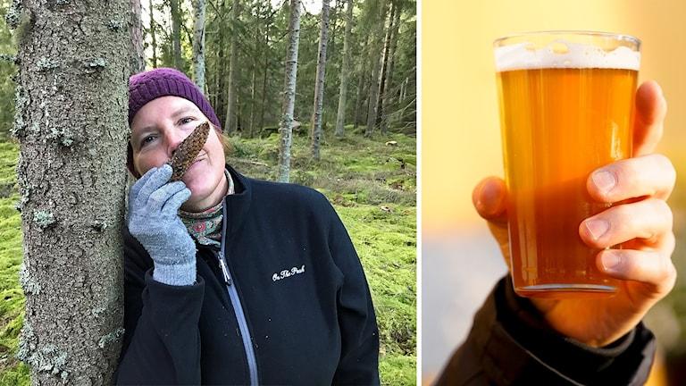 En kvinna luktar på en kotte, och en hand håller upp ett glas öl.