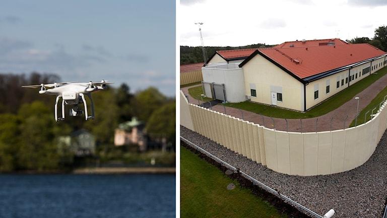 Till vänster i bild syns en drönare, till höger en flygbild över rättspsykiatriska regionkliniken i Växjö.