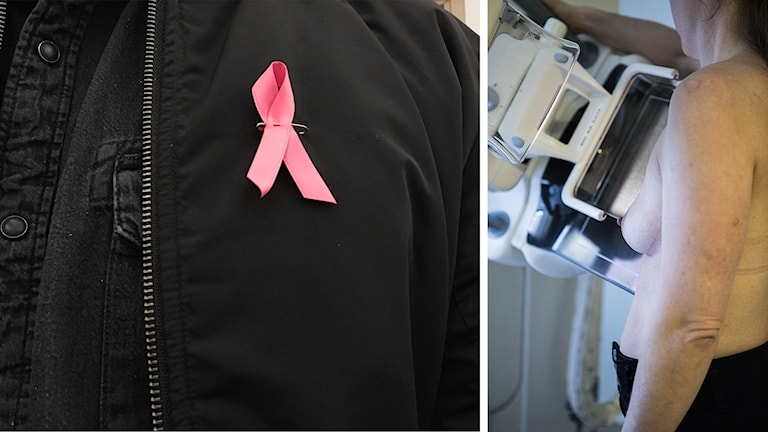 Rosabandet och en kvinna som gör mammografi.