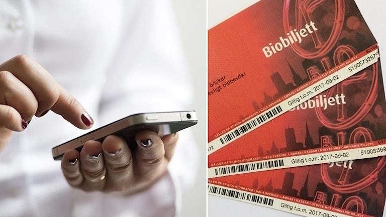 Mobiltelefon och biobiljetter