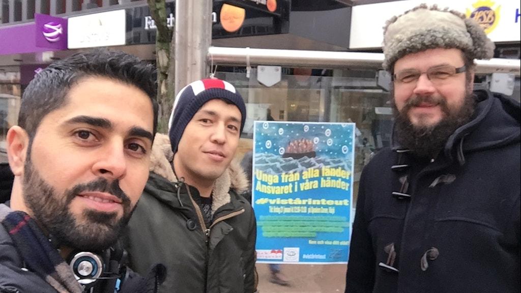Reporter Sam Edward, Aref Yousefi och Frank Jonelid, Studiefrämjandet.