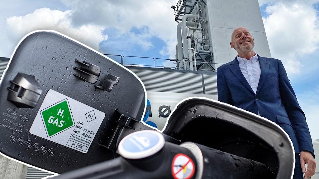 En man står framför ett gasraffinaderi. En bild på ett tanksystem för vätgas syns framför.